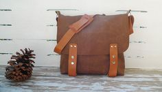 Brown Canvas Single Leather Strap Messenger bag / by ottobags, $89.00