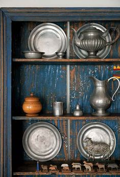 antique pewter collection      Love the blue cabinet             ****