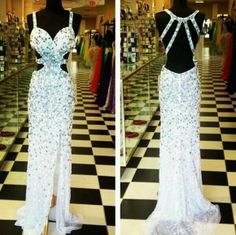 dress prom dress white prom hot sexy classy whitestyle fashion teen like gown…
