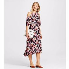 New Who What Wear Floral Cold Shoulder Midi Dress
