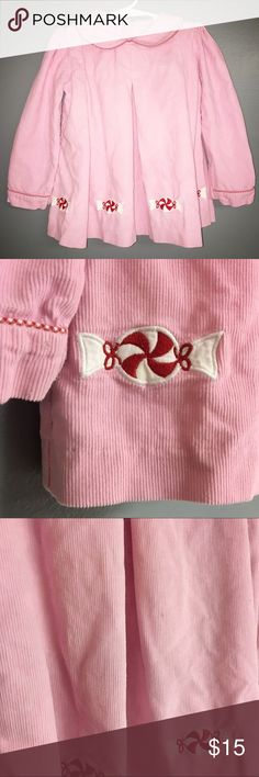 Vintage Holiday Smock Peppermint Christmas Dress Flaws are pictured. Small pin sized mark as shown in third photo and small stain on peppermint as shown in second photo. Buttons are loose, but easily repaired. Girls Size 5/6 - Dress only no bloomers. Dresses