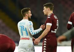 Dries Mertens of SSC Napoli and Andrea Belotti shake hands after the Serie A match between SSC Napoli and FC Torino at Stadio San Paolo on December 18, 2016 in Naples, Italy.