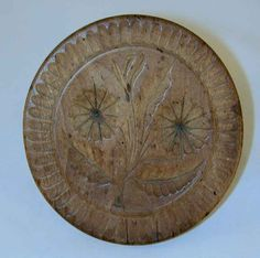 Large Antique Carved Wood Primitive Butter Print Two Flowers and Leaves Toothed Border
