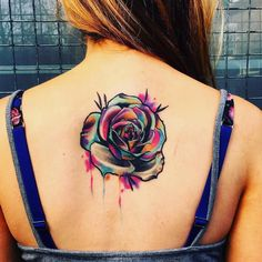 watercolor rose tattoo by Little Andy
