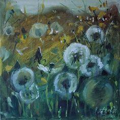 Painted last week, only got around to photograph it today. 'Make a wish' 30x30cm acrylic on deep edge canvas. €95. Pm to reserve. #puffballs #dandelions #meadow #summer #yellow #painting #flowers #floral #floralpainting #puffball #artists #lovemyjob #buzz #affordableart #art #acrylics