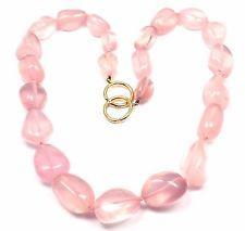 Authentic! Tiffany & Co Paloma Picasso 18k Gold Large Rose Quartz Bead Necklace