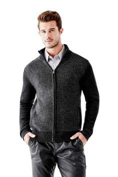 Jason Plaited Zip Sweater   GUESS.com