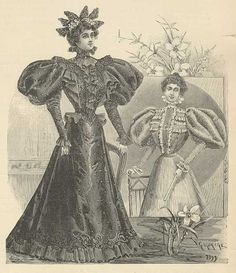 "After the first year of mourning, a woman had more freedom choosing her clothing which was known as ""half-mourning,"" a woman could begin to wear hats again, unlike in deep mourning, when she would have only worn a simple bonnet with a long crape veil. Colors like grey and purple were also allowed. This dress shows more ornamentation than a deep mourning toilette, as it is trimmed with some embroidery and beads made from jet,  lusterless black coal also used in making mourning jewelry"