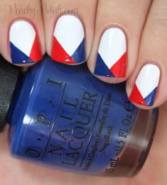Red, white, and blue nail art ideas for Memorial Day and the 4th of July! If your comfort zone has always been French tips, take the leap to something new with this fun mani.