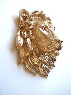 Faux Taxidemy Small Lion Head Wall Mount Leonard by mahzerandvee