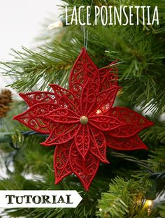 Tutorials | Urban Threads: Easy lace poinsettia you can make on your embroidery machine!