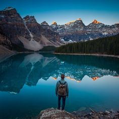 Moraine Lake Road, Banff National Park, Alberta, Canada. Moraine Lake is a glacially-fed lake in Banff National Park, 14 kilometers outside the Village of Lake Louise, Alberta, Canada. It is situated in the Valley of the Ten Peaks, at an elevation of approximately 6,183 feet.
