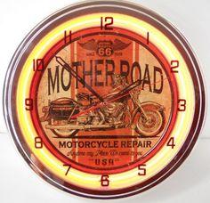 Mother Road Motorcycle 15″ Neon Light Clock Garage Street Chopper Emblem Sign  http://bikeraa.com/mother-road-motorcycle-15-neon-light-clock-garage-street-chopper-emblem-sign/