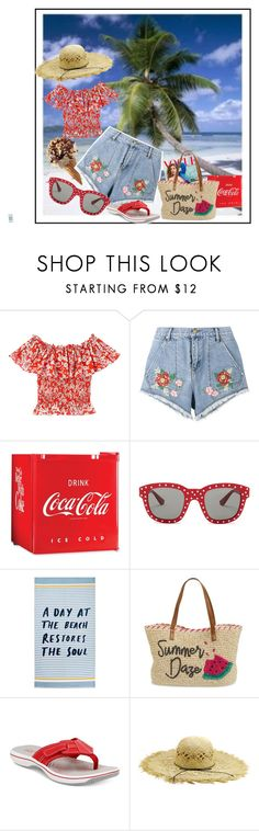 """""""A Day at the Beach - Denim Cutoffs"""" by kindlefraud ❤ liked on Polyvore featuring House of Holland, Nostalgia, Yves Saint Laurent, John Lewis, Nordstrom and Clarks"""