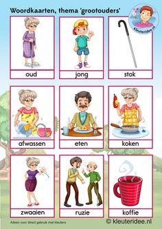 Woordkaarten  voor kleuters, opa en oma 2, kleuteridee.nl, kinderboekenweek…