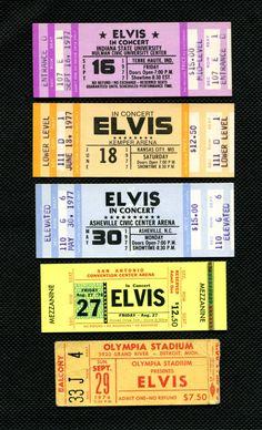Elvis Presley Original Concert Tickets #vintage concerttickets.com