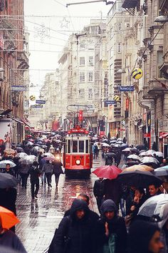 Istanbul Smell Of Rain, Umbrellas, Watercolor Art, Istanbul, To Go, Around The Worlds, Wanderlust, Street View, Explore