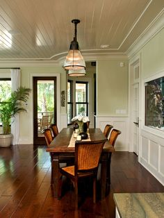 Tropical designed dining area with a British Colonial feel. Clean lines of details & fresh paint keep it crisp. Deep woods & natural textures keep it island style. Light Green Walls, West Indies Decor, British Colonial Decor, Colonial Style, British Colonial Style, Home Decor, Dining Design, Tropical Dining Room, Wainscoting Styles