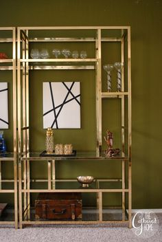 Found: Vintage Brass and Glass Etagere Pair
