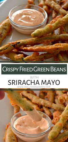 Appetizer Recipes 55102 The perfect game day, movie night, or holiday party appetizer that is quick and easy! This Crispy Fried Green Beans with Sriracha Mayo has a slightly spicy crunchy crust and tender fresh green beans. Save this party food for later! New Recipes, Vegetarian Recipes, Cooking Recipes, Favorite Recipes, Easy Fast Recipes, Vegetarian Appetizers, Thai Recipes, Vegetable Recipes, Healthy Recipes