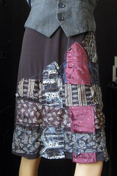 skirt plus woven neckties and topstitching