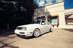White VW Golf MK3 -Jetta front end and eurolip-