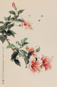 ☆Asian painting of hibiscus Asian Flowers, Oriental Flowers, Chinese Flowers, Chinese Painting Flowers, Hibiscus Flower Drawing, Watercolor Flowers, Flower Art, Watercolor Art, Japanese Drawings