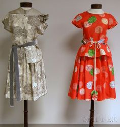 Two Geoffrey Beene Lady's Ensembles ~ in Asian type prints ~ a loose T shaped top with an easy full skirt ~