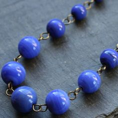 Cobalt Vintage Glass Beaded Necklace by WishByFelicity,