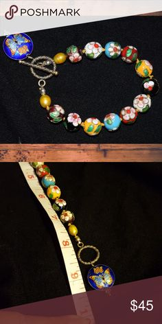 Cloisonne bead bracelet Handmade/knotted/not Sterling silver/ I've had it for 14 yrs. handmade Jewelry Bracelets