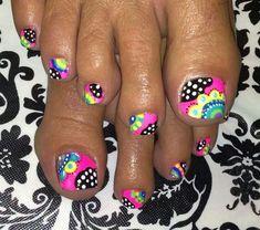 Girly toe nails by lenore Pedicure Nail Art, Toe Nail Art, Pedicure Ideas, Nail Ideas, Cute Toe Nails, Diy Nails, Nails After Acrylics, Summer Toe Nails, Plain Nails