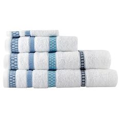Blue 'Embellished Stripe' towels - Pattern towels - Towels - Home & furniture -