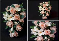 Peach Rose & Frangipani Trailing Bouquet - love this but in purple