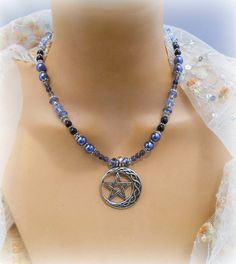 Indigo Moon Celtic Pentacle necklace, Iolite Sapphire,crystals,Moon Crescents,wiccan jewelry,pagan,Metaphysical,New Age