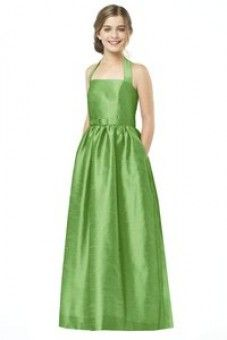 Dessy Collection Junior Bridesmaid style JR 501 is the Junior version of style halter full length dupioni dress with matching skinny belt and pockets at side seams of full skirt. Also available in cocktail length as style Prom Dresses Under 100, Cheap Prom Dresses, Long Dresses, Dresses 2014, Prom Gowns, Quinceanera Dresses, Homecoming Dresses, Formal Dresses, Kids Fashion