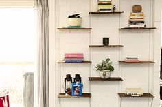 The bookshelf that Joel constructed displays an eclectic collection