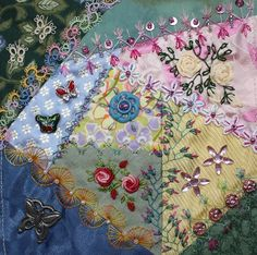I ❤ crazy quilting & beadwork & embroidery . CQI Summer Dreams - Ritva for Helina; Helina's Blocks- Embellished ~By Ritva