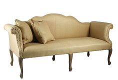 Urbana Sofa 74W x 30D x 37H I love the lines on this sofa but I would rework the material. I love the cabriole legs and scalloped backrest, and rolled arms. $1799/3740 OKL