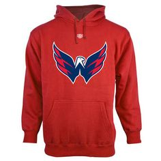 5335c943e Mens Washington Capitals Old Time Hockey Red Big Logo with Crest Pullover  Hoodie Hockey Gear