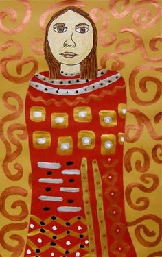 """Klimt as inspiration. From exhibit """"Klimt-Style Self portrait -5""""  this is by melanie440 from Whitney Elementary School— grade 5, United States"""