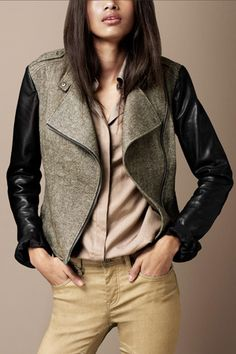 Burberry Contrast Sleeve Biker Jacket, $795 available at Burberry. Pricey,but a jacket that will be in your closet forever!