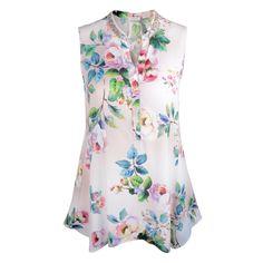 Haut à imprimé floral avec col orné de paillettes - 375 $ @RIANIfashion. Floral-print tank top with sequin-embellished collar