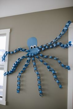 Birthday Decoration Octopus #birthday #decoration #octopus Toddler Crafts, Animal Crafts For Kids, Preschool Crafts, Diy For Kids, Ocean Crafts, Octopus Crafts, Dinosaur Crafts, Under The Sea Party, Under The Sea Crafts