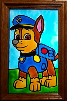 Chase Paw Patrol Window Art faux stain glass sun catcher cartoon boy child Nickelodeon Nick Jr. decoration bedroom police dog