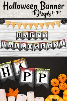 Happy Halloween chalkboard Drips style banner to add some Halloween gooiness to your classroom decor this season. Easy to print at home add to some black cardstock hang with string and you are all ready for your party event. #halloweenparty #halloweenbanner #halloweendecor