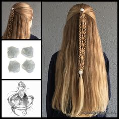 Halfup with a bubble braid and two 3D round braids attached