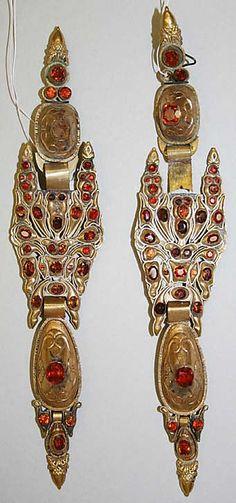 Earrings | 1800–1939  | Spanish  | Metal and stones