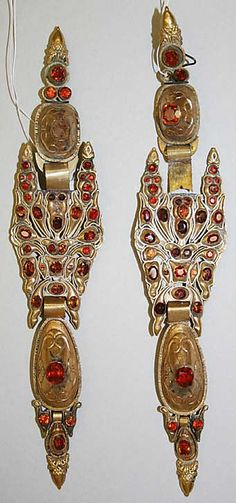 Earrings, 19th century, Spanish.