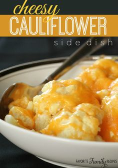This isn't your typical cheesy cauliflower dish... the cauliflower is tossed in a sweet, creamy mustard-type sauce and then covered with cheese.