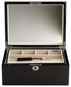 Closeout! Reed & Barton Modern Lines Large Jewelry Box - Brown
